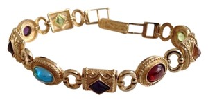 14k Etruscan Multi Gemstone Bracelet 22.6 Grams.