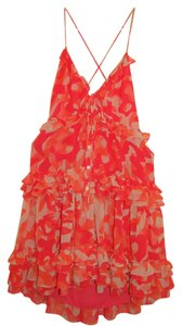 Moda International Coral Ruffle Open-back Pink Cream Camo Date Vs Dress
