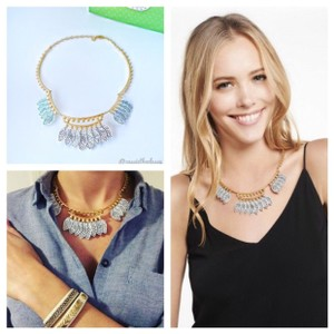 Stella & Dot Asher White Feather Statement Necklace
