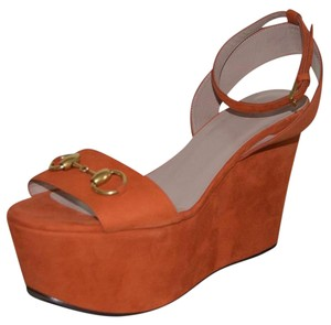 Gucci Leather Sandals New Rust Wedges