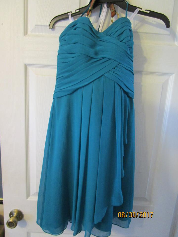 c79633bae1a7 David's Bridal Turquoise Blue Green Crinkle Chiffon Short Style: F14847  Front Cascade Bridesmaid/Mob ...