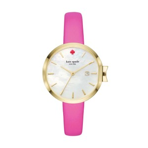 Kate Spade Kate Spade Women's Gold-tone And Pink Leather Park Row Watch KSW1268