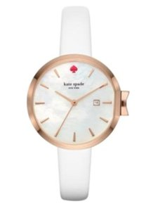 Kate Spade Kate Spade Women's Rose Gold-tone And White Leather Watch KSW1270