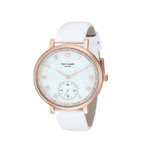 Kate Spade Kate Spade Women's Rose Gold-tone And White Leather Watch KSW1295
