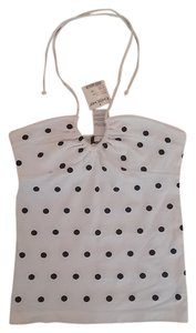 bebe Tube Dot White w/ black polka dots Halter Top