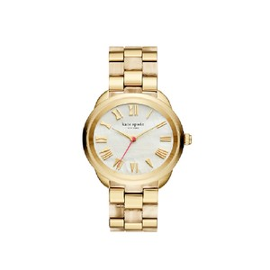 Kate Spade Kate Spade Women's Gold-tone And Horn Acetate Crosstown Watch KSW1330