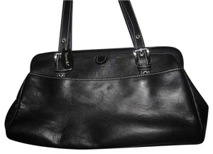 Emilie M Leather Sophisticated Retro Chrome Buttery Satchel in Black