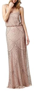 Adrianna Papell Taupe/Pink Adrianna Papell Beaded Blouson Gown Dress