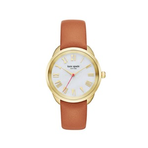 Kate Spade Kate Spade Women's Gold-Tone and Brown Leather Crosstown Watch KSW1063