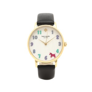 Kate Spade Kate Spade Women's Black Leather And Gold-tone Metro Watch KSW1252