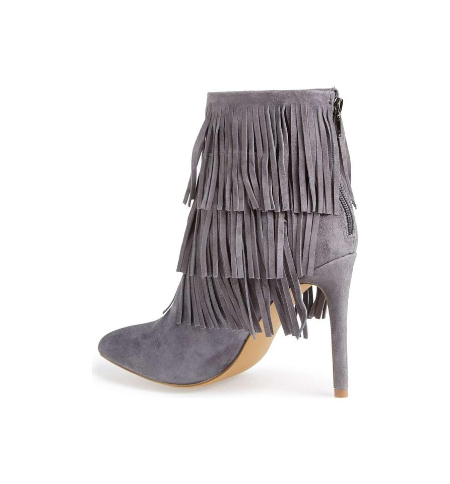fd407bb5f38 Steve Madden Grey Flapper Fringe Ankle Boots Booties Size US 9 ...