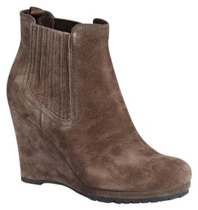 Prada Suede Rubber Sport Gussets burnished brown Boots