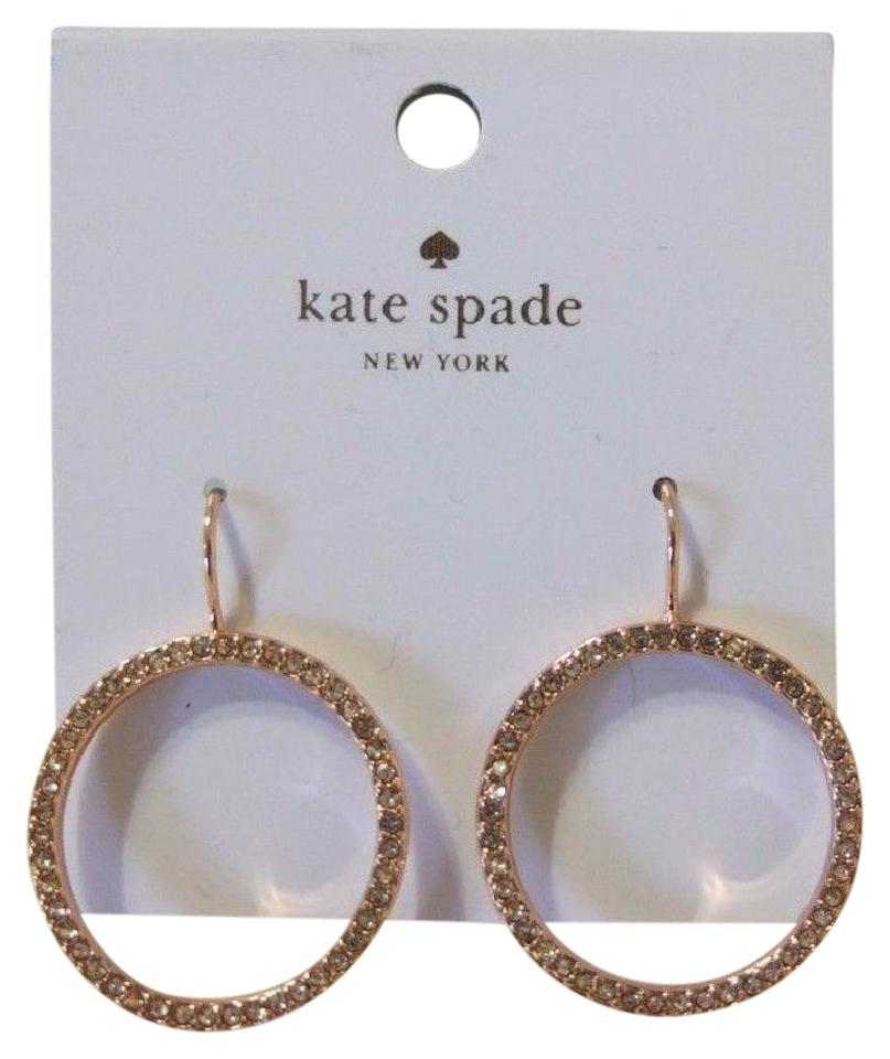 Kate Spade New Tags Rose Gold Rhinestone Round Elegant Hoop Earrings Hoops
