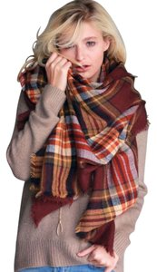 Sofi + Sebastien Plaid Tartan Blanket Scarf Shawl Wrap Cozy Soft Warm Brown Rust