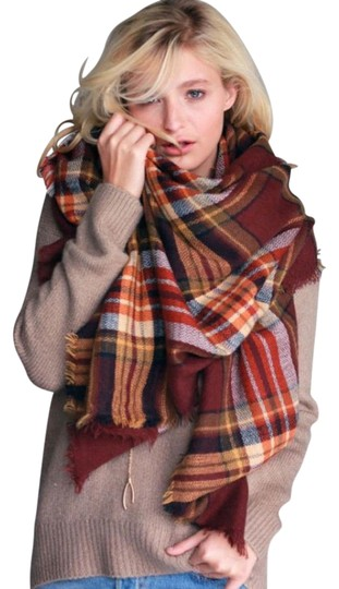 Preload https://img-static.tradesy.com/item/22017537/multicolor-plaid-tartan-blanket-shawl-cozy-warm-brown-rust-scarfwrap-0-1-540-540.jpg