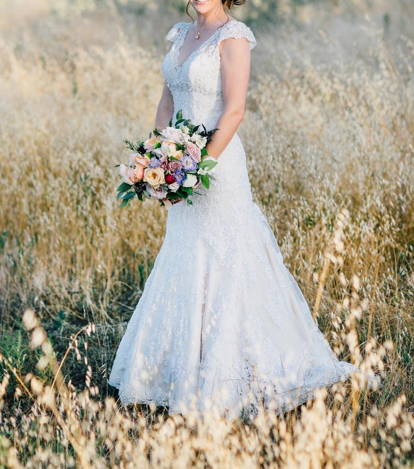 Allure Bridals Ivory/Light Gold/Silver Lace with Beaded Applique ...
