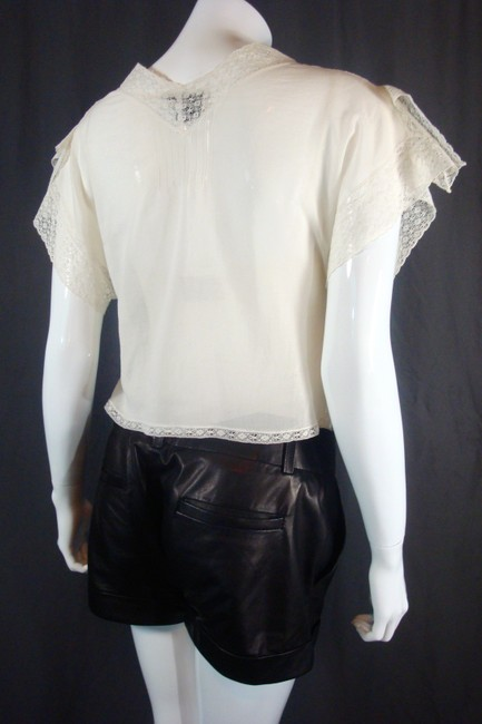 Chanel Crop Mother Of Pearl Lace Top White