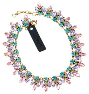 J.Crew Crystal Leaves Statement Necklace Pink