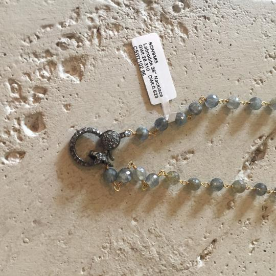 Pave Paired Labradorite necklace with wooden and diamond charm