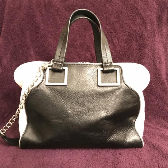 Audrey Brooke Purse Handbag Shoulder Tote Designer Satchel in Black White