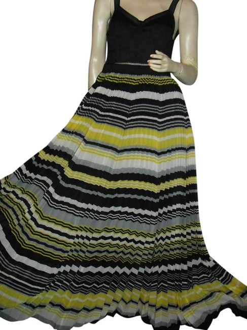Item - Black Yellow Gray White Bustier Boned Electric Pleats Knife Broomstick Pleat Long Casual Maxi Dress Size 4 (S)