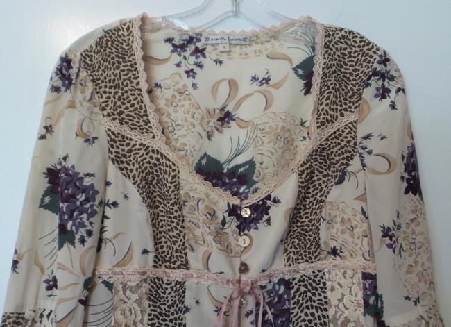 Nanette Lepore New Anthropologie Tunic Silk Small Top Off-white, blue, green, brown +