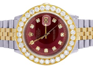 Rolex Datejust 16013 Two Tone 18K/ Steel 36MM Red Dial Diamond Watch 6.75 Ct