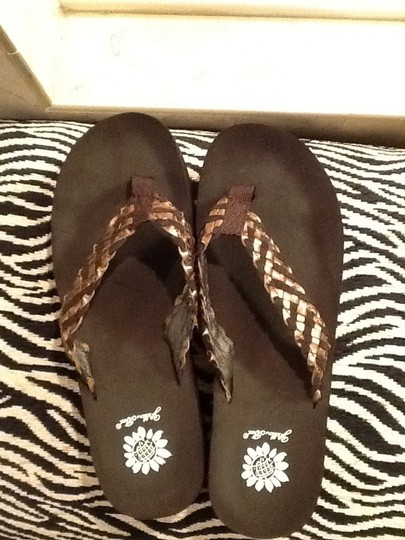 Yellow Box Braided Flip Flop Wedge Brown and Gold Sandals