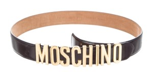 Moschino Black leather Moschino gold tone letter charms belt M