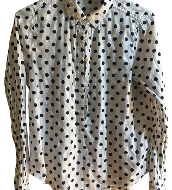 J.Crew Button Down Shirt white popover with dark navy polka dots