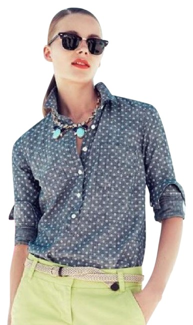 Preload https://img-static.tradesy.com/item/22018078/jcrew-chambray-with-white-circles-print-popover-button-up-button-down-top-size-0-xs-0-3-650-650.jpg