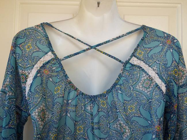 Sun & Shadow Longsleeve Sheer Floral Crisscross Strap Keyhole Top blue, white, yellow
