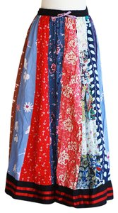 Vintage Radhika Patchwork Festival Bohemian Circle Maxi Skirt Multi-color