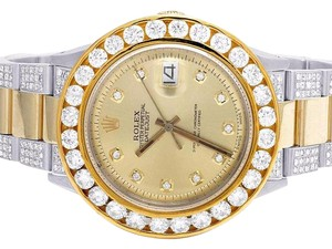 Rolex Datejust Two Tone 18K/ Steel 36MM Champagne Dial Diamond Watch 11.75Ct