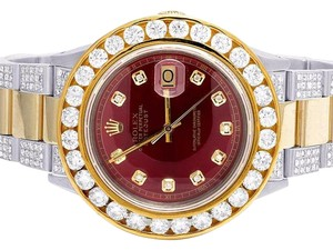 Rolex Datejust 36MM Oyster Two Tone 18K/Steel Red Dial Diamond Watch 11.75Ct