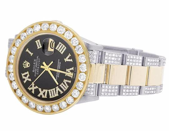 Rolex Datejust 36MM Oyster Two Tone 18K/Steel Black Dial Diamond Watch 12 Ct