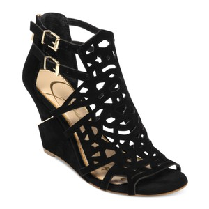 Jessica Simpson Wed Suede Leather Black Wedges