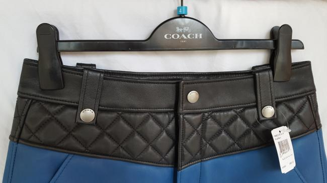 Coach Leather Qullted Mini Skirt Blue and Black