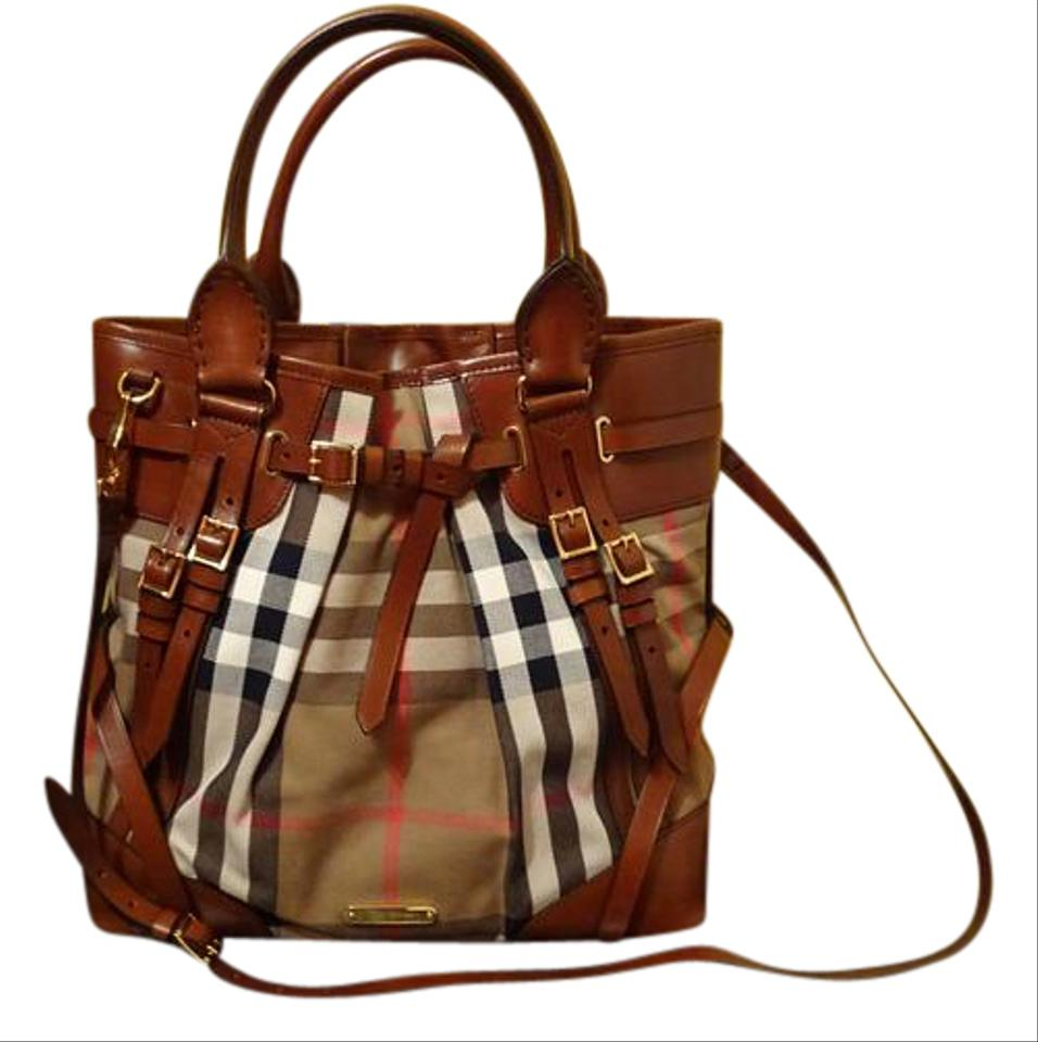 c0ec58f53b3 Burberry Bridle House Check Large Whipstitch Brown Tote - Tradesy