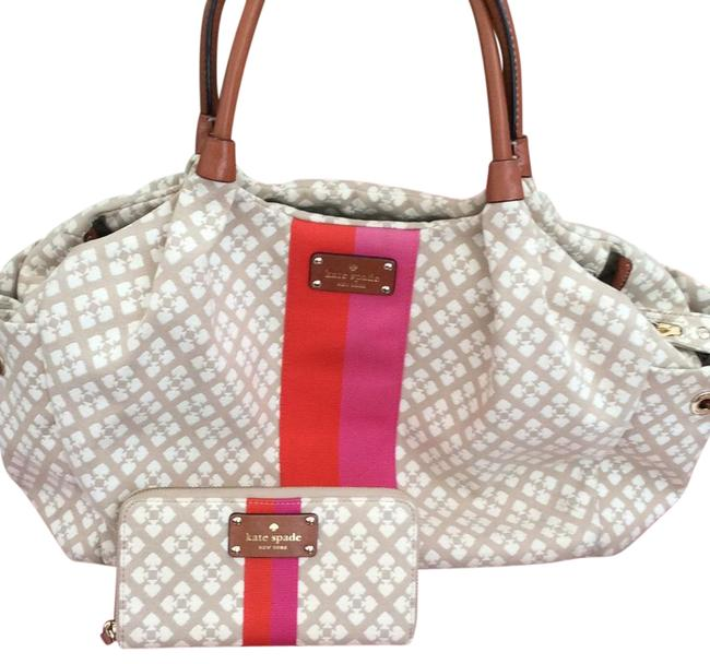 Item - With Matching Wallet Like New Tan and Red Cotton Blend Diaper Bag