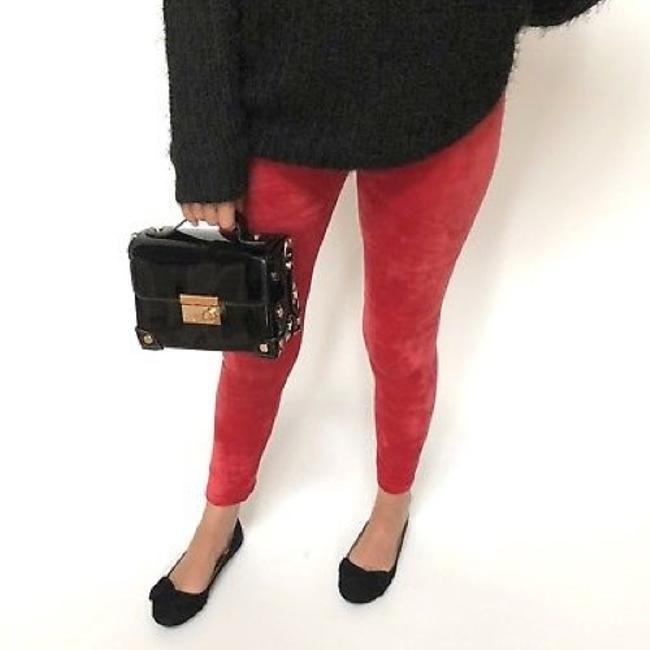 Musa Fall Holidays Gift Cozy Velvet Red Leggings