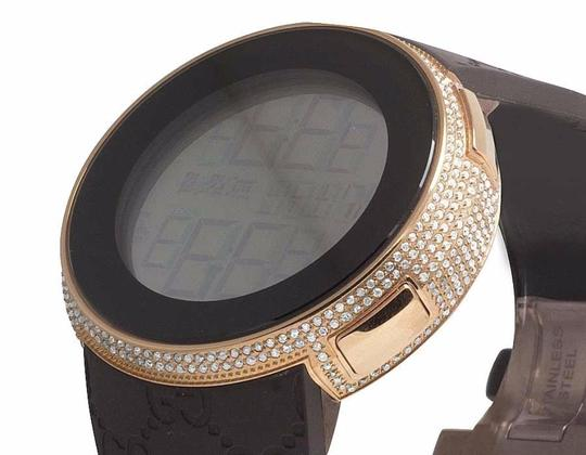 Gucci Rose Gold Plated White Diamond Case for I Digital Watch YA114 4 Ct