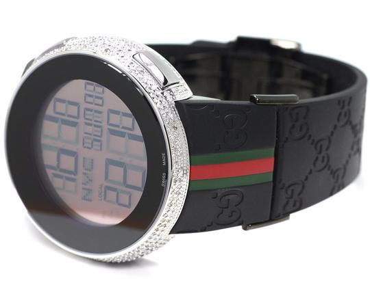 Gucci White Gold Plated White Diamond Case for I Digital Watch YA114 4 Ct