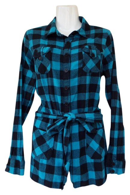 Preload https://img-static.tradesy.com/item/22018653/teal-black-flannel-gingham-checkered-long-sleeve-large-button-down-top-size-12-l-0-1-650-650.jpg