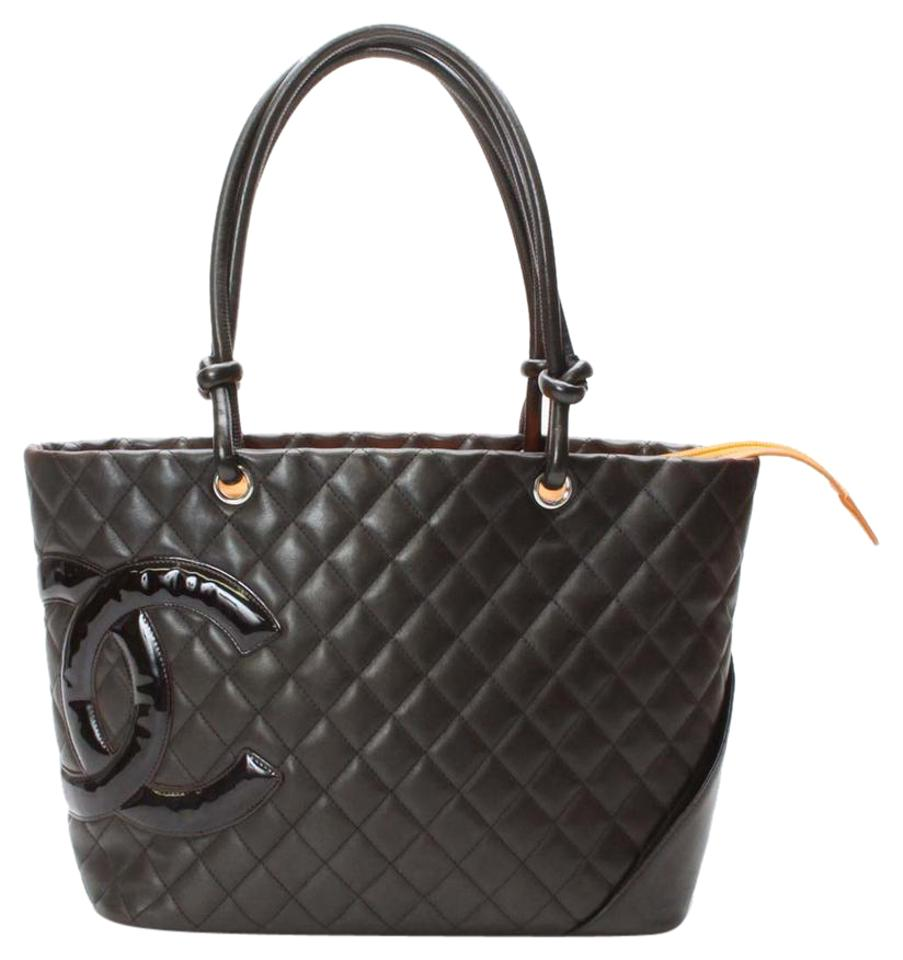 8b76ae2635f6 Chanel Tote Cambon Cc Quilted Leather Brown Lambskin Shoulder Bag ...