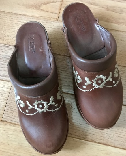 J.Crew Factory Leather Size 8 Wooden Brown Mules