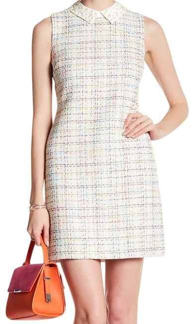 CeCe by Cynthia Steffe Pearl Spread Collar Tweed Dress