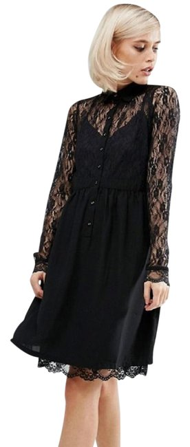 Preload https://img-static.tradesy.com/item/22019024/black-lace-smock-shirt-with-panel-887716-mid-length-cocktail-dress-size-6-s-0-1-650-650.jpg