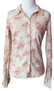 Hollister Button Down Shirt Beige/Pink