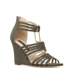 Izabella Rue Strappy Chain-link Green Wedges